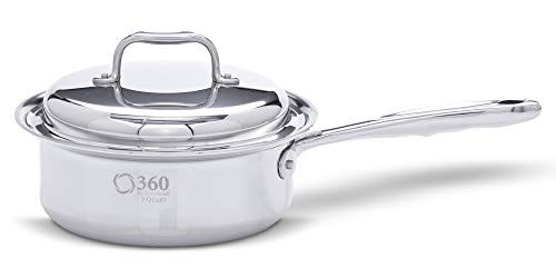 360 Stainless Steel Sauce Pan with Lid, Handcrafted in the USA, Surgical Grade Stainless Steel Saucepan, Induction Cookware, Waterless Cookware, Dishwasher Safe, Oven Safe, Professional Grade. 2 Quart
