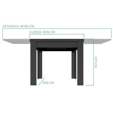 Vivienne Flip Top 4 Seater Dining Table in Black High Gloss