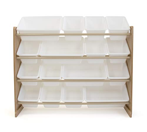 (Tot Tutors WO166 Super-Sized Toy Storage Organizer w/ 16 Bin, Universal, Natural/White)