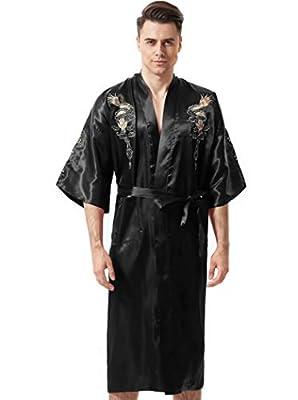 MORCOE Men's Chinese Dragon Embroidered Satin Kimono Yukata Long Robe Soft Loungewear Nightgown Pajamas with Pockets Gift