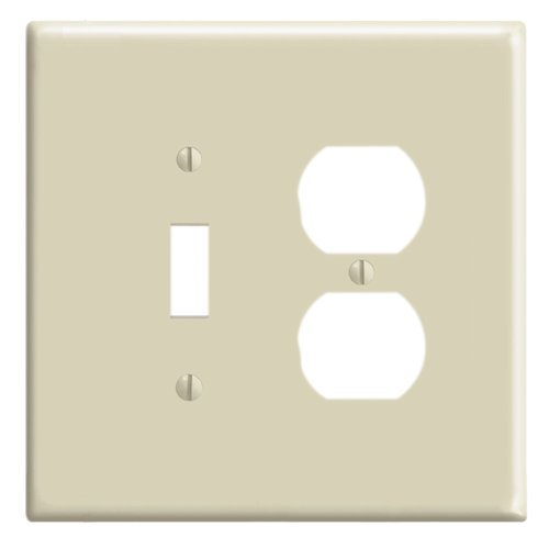 Leviton 86105 2-Gang 1-Toggle 1-Duplex Device Combination Wallplate, Oversized, Thermoset, Device Mount, ()