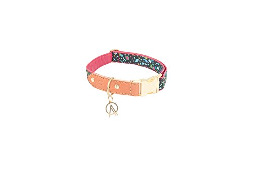 [Fuchsia Pink leather dog collar by OLIVE + ATLAS // Handmade with Liberty London cotton print, fuchsia pink full-grain leather, hand-stitched english bridle leather, and brass hardware] (Inspired Bridle)