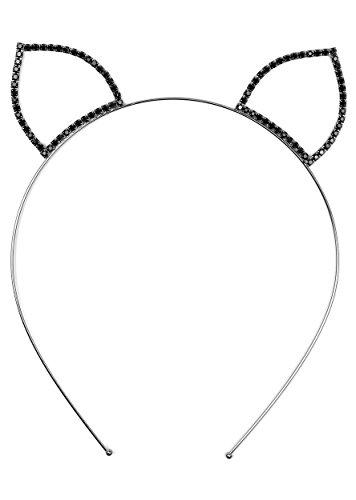 HW-712-06 Rhinestone Cat Ears Headband - Black -