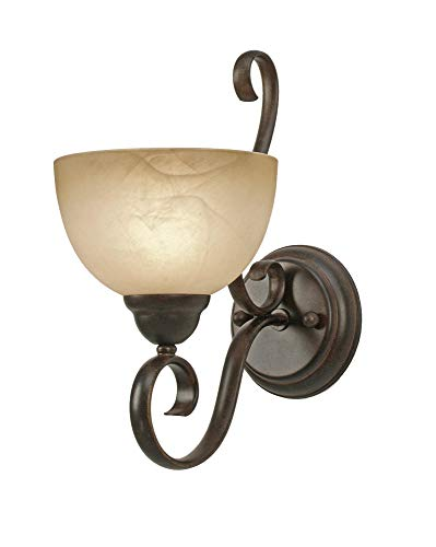 Golden Lighting 1567-1W Riverton PC Sconce - Damp, 7-Inch W by 13-3/4-Inch H by 11/2-Inch Ext, Peppercorn ()