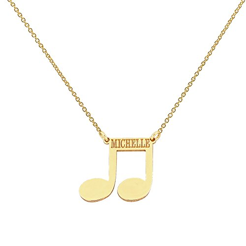 Dainty Solid 14k Yellow Gold Musical Notes Disc Pendant Personalized Deep laser engraving (Solid Yellow Gold Musical Notes)