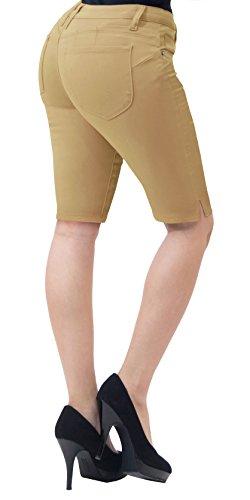 (HyBrid & Company Super Comfy Stretch Bermuda Shorts B43308X Khaki 18)