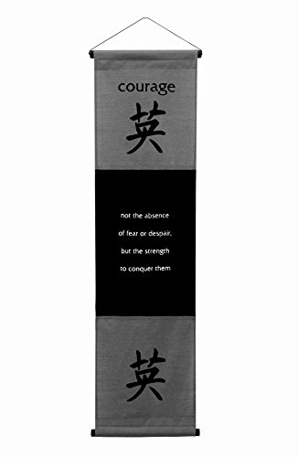 - G6 Collection Inspirational Wall Decor Courage Banner Large, Inspiring Quote Wall Hanging Scroll, Affirmation Motivational Uplifting Message Art Decoration, Thought Saying Tapestry Courage (Gray)