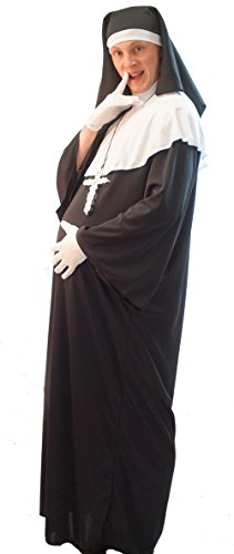Sister Act-Monty Python-Stag Nights-Fancy Dress MALE PREGNANT NUN with SILVER CROSS & GLOVES - From Teen to XXXXL (XXL) - Pregnant Teenager Costume