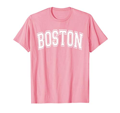 Boston Womens Pink T-shirt - Boston T Shirt - Varsity Style Pink with White Text