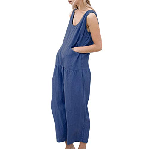 Sunhusing Womens Solid Color Round Neck Sleeveless High Waist Jumpsuit Trousers Loose Casual Wide Leg Pants Blue -
