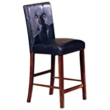 Roundhill 24-Inch Blended Leather Counter Height Bar Stool Chairs with Oak Finish Solid Wood Legs, Black, Set of 2