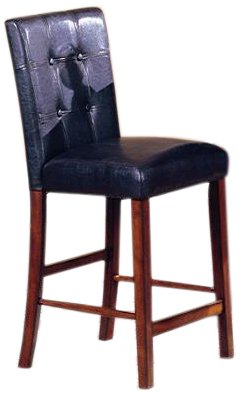 Roundhill Furniture 24-Inch Blended Leather Counter Height Bar Stool Chairs with Oak Finish Solid Wood Legs, Black, Set of (Oak Finish Counter Height Chairs)