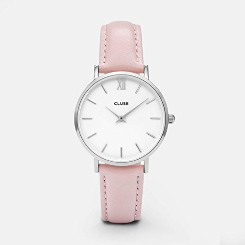 Leather Pink Watch (CLUSE Minuit Silver White Pink CL30005 Women's Watch 33mm Leather Strap Minimalistic Design Casual Dress Japanese Quartz Elegant Timepiece)