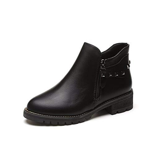martin e tubo fondo scarpe donna stivali black 40 casual testa 4cm stivali black breve da piatto 38 l'inverno breve l'autunno a e medio KOKQSX rotonda 65xptt