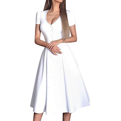 - Letdown Party Dress for Women Elegant Sexy Women Solid V-Neckline Short Sleeve Button Splice Big Swing Dress White