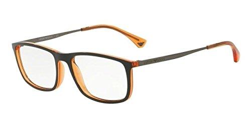 Armani EA3070 Eyeglass Frames 5530-54 - Matte Black/orange Transp (Transp Matte)