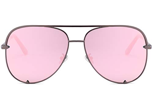 Eyerno Mirrored Aviator Sunglasses For Men Women Fashion Designer UV400 Sun ()