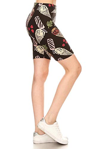 - Leggings Depot LBKX-S742-3X Cones and Popsicles Printed Biker Shorts, 3X Plus