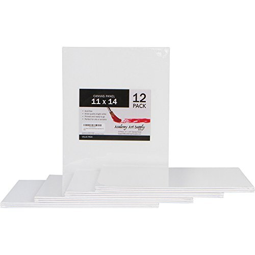 Academy Art Supply Value Pack of 12 11 x 14 Blank Canvas Panel Boards