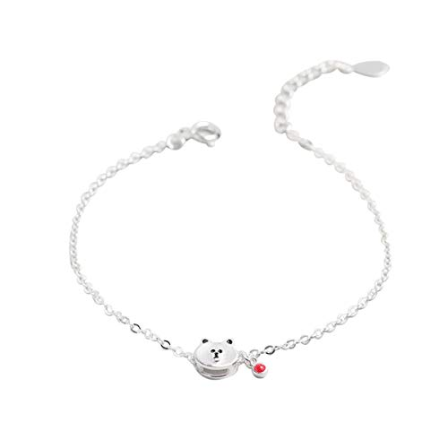 (Hugdong 3D Cartoon 925 Silver Bear Head with Bead Bracelet with Jewelry Box,Bear Bracelet for Women (Silver))