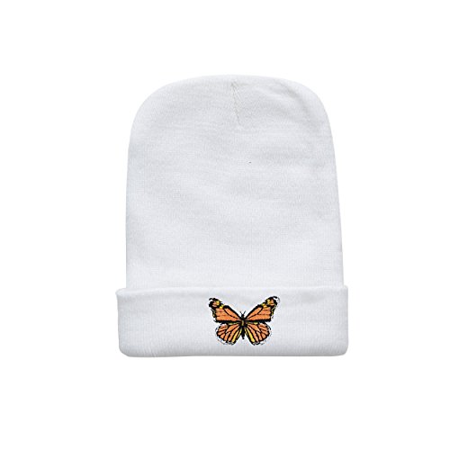 Guy-Hats Monarch Butterfly Beanie White Winter Knitted Hat - One Size Embroidered For Adult and Youth (Embroidered Butterfly Beanie)