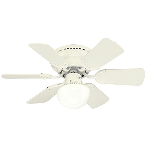 Westinghouse 7213500 Petite Single-Light 30 inch Reversible Six-Blade Indoor Ceiling Fan, White with Opal Mushroom Glass