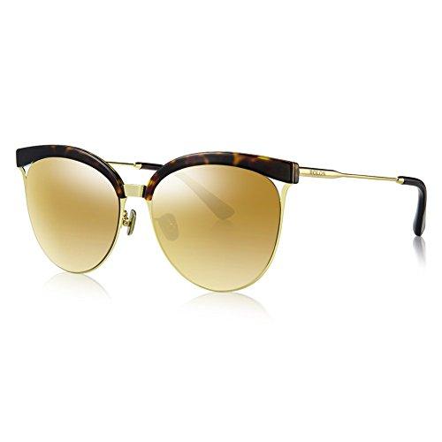 BOLON BL6001 Women's Nylon Non-Polarized Golden Mirror Lens Cat Eye Acetate,Metal - Anne Glasses Hathaway