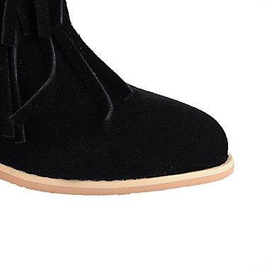 LFNLYX Mujer-Tacón Robusto-Botas a la Moda-Botas-Exterior / Casual / Fiesta y Noche-Semicuero-Negro / Amarillo / Rojo / Gris Black