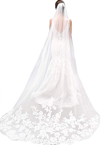 (Sisjuly Women's 1T Floral Appliques Lace Chapel Long Wedding Veil with Comb One Size Ivory)