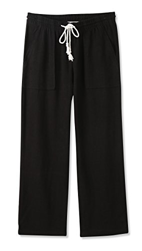 Vetemin Womens Midrise Relaxed Casual Cropped Elastic Band Soft&Compy Linen Pant Black XL