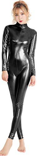 speerise Womens Shiny Metallic Catsuit Long Sleeve Unitard Bodysuit, Black, L]()