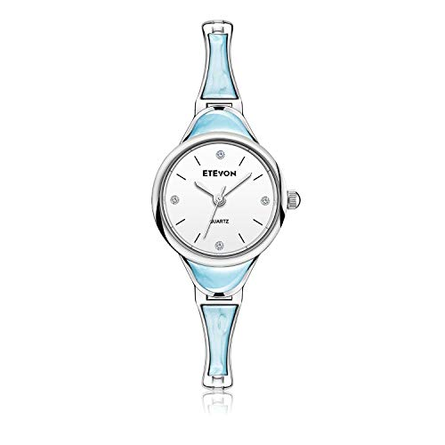 ETEVON Women's 'Light-Tone' Series Quartz Analog with Marbling Decoration Bracelet, Unique Bangle Design, Fashion Daily Wrist Watches for Girls Women-Blue (Bangle Bracelet Watch Quartz)