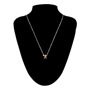 Swyss 26 English Letter Name Chain Pendant Necklace Chic Clavicle Chain Jewelry Accessories Simple Fashion (A)