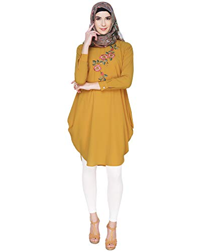 Modest Forever Yellow Side Cowl Tunic Burkha for Women