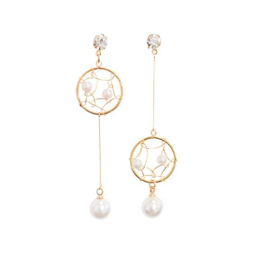 Dreamcatcher Earrings Long Asymmetric Silver Needle Pearl Tassel ()