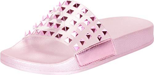 (Cambridge Select Women's Clear Single Band Pyramid Stud Slip-On Flat Slide Sandal,6 B(M) US,Pink)