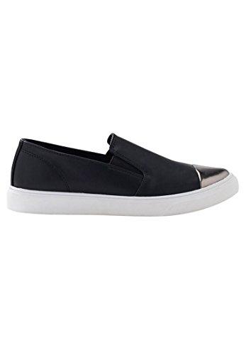 Ellos Brede Damesleren Slip-on Sneakers Van Zwart Leer, Zwart Brons
