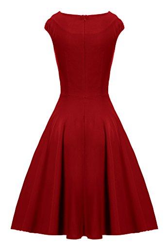 Gigileer - Vestido de algodón para mujer, estilo vintage, años 50 Granate