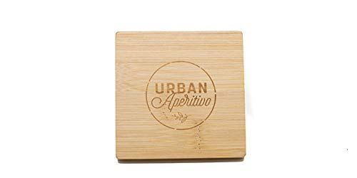 - Drink Coasters Set of 4 Bamboo modern square shape