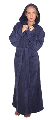 Arus Women's Pacific Style Full Length Hooded Turkish Cotton Bathrobe S/M Navy Marine by Arus