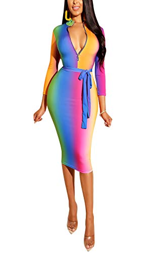 Women's Zipper Dress Deep V Neck Long Sleeve Multicolor Rainbow Tapered Color Bodycon Midi Dress ()