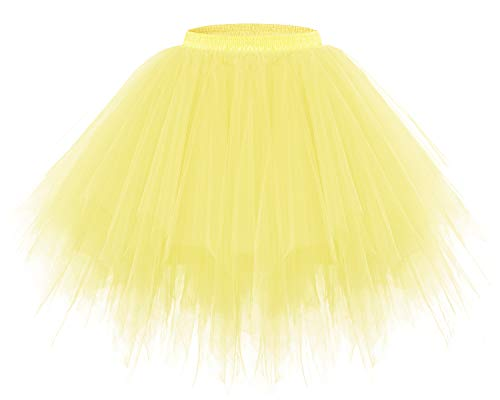 Bridesmay Women's Tutu Halloween Tulle Skirt 50s Vintage Ballet Bubble Dance Skirts Yellow ()