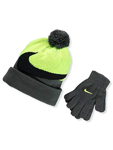 Nike Knit Beanie & Gloves Set (Big Boys One Size) - anthracite/volt, l / xl
