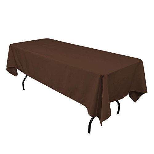Rectangle Chocolate (Gee Di Moda Rectangle Tablecloth - 60 x 102 Inch - Chocolate Rectangular Table Cloth for 6 Foot Table in Washable Polyester - Great for Buffet Table, Parties, Holiday Dinner, Wedding & More)