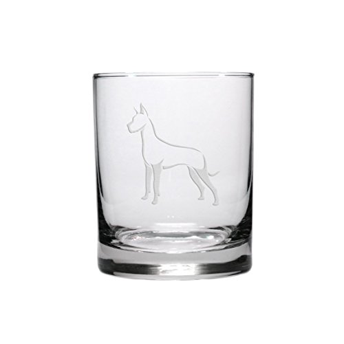 - Great Dane Etched Whisky Glass