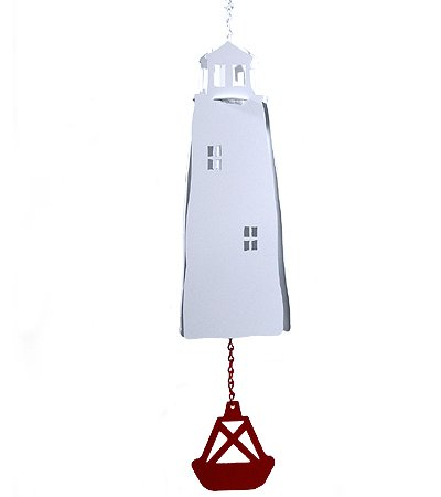 Modern Artisans American Harbor Collection: Large Lighthouse 3-Tone Wind Bell with Red Buoy Wind Catcher -