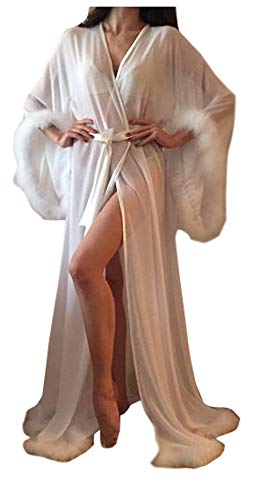 Kelaixiang Women Sexy Fur Collar Perspective Sheer Long Lingerie Robe Nightgown Bathrobe Pajamas Sleepwear - Lingerie Of Hollywood