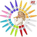 20 Pack Plastic Kazoos Musical Instruments with 20pcs Kazoo Flute Diaphragms Assorted Color Party Favors Gifts Kazoo Kid Random 8 Colors by yo-fobu
