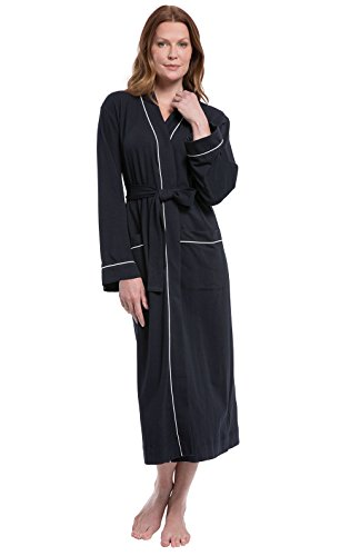 PajamaGram Bathrobe Womens So Soft - Women's Bathrobes Long, Black, Small 4-6