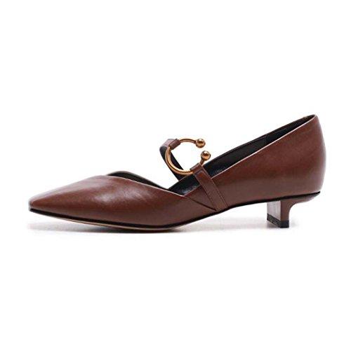 Color de Negra Talla Zapatos 37 con Tacón 34 de Sueltos Zapatos de Mujer Marrón Verde 39 Hebilla Tamaño bajo Cuadrada Zapatos Bombas Punta Marrón 6tRTqrt